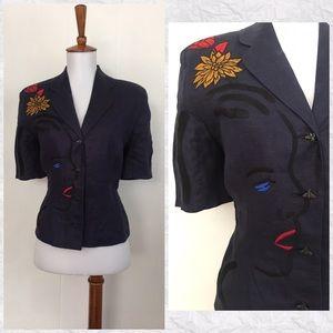 Vintage 90's Linen Embroidered Pop Art Jacket